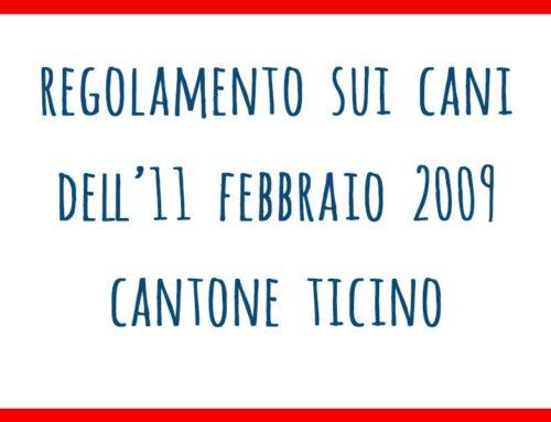Regolamento sui cani dell'11 febbraio 2009 – Cantone Ticino
